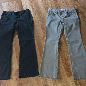 Two pair boot cut khaki pant